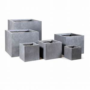 Blumentopf Aussen Grau : blumentopf eckig aus fibreclay in sch nem betongrau perfekt geeignet f r den au enbereich ~ Sanjose-hotels-ca.com Haus und Dekorationen