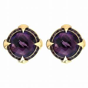Round Checkerboard Amethyst Gold Earrings For Sale At 1stdibs