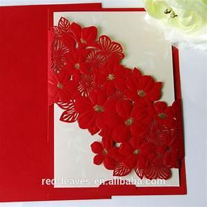 Laser cut elegant flower wedding card design folding for 3d rose wedding invitations
