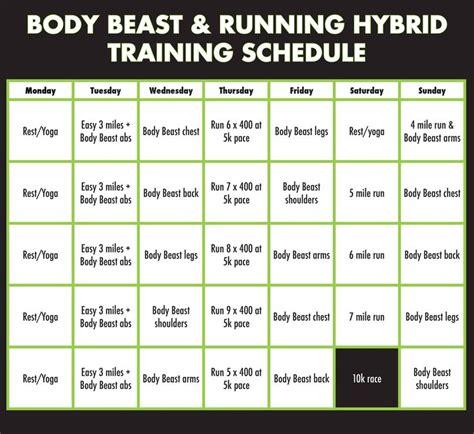 body beast running hybrid training schedule body beast
