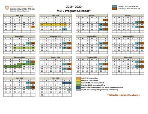 academic calendar texas mstc mccombs school business