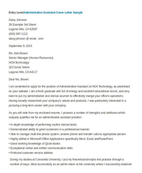 Administrative Assistant Cover Letter Cover Letter Administrative Assistant Cover Letter Exles Entry Level