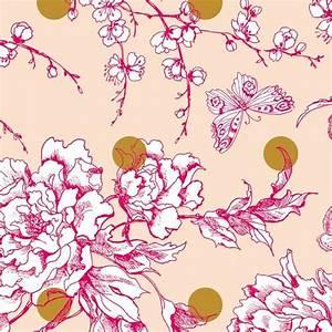 Tissu Rose Poudré : tissu coton enduit mat rico design fleur de cerisier or rose poudr x 10cm ~ Teatrodelosmanantiales.com Idées de Décoration