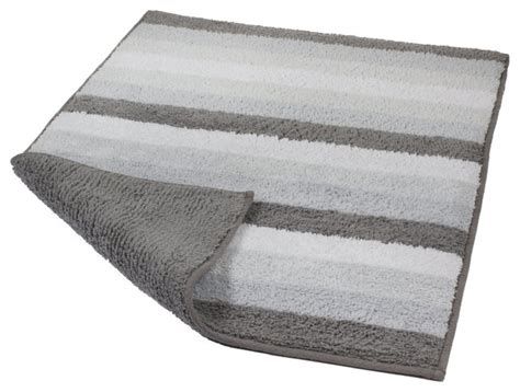 Silver Gray Unique Reversible Cotton Bathroom Rug, Summer