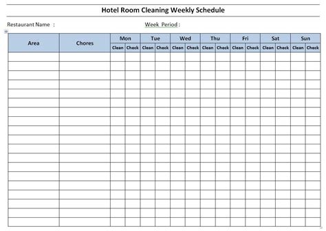 Cleaning Schedule Template Free Hotel Room Cleaning Schedule Template