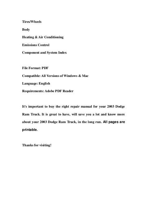 free car manuals to download 2003 dodge ram 2500 security system 2003 dodge ram truck service repair workshop manual download