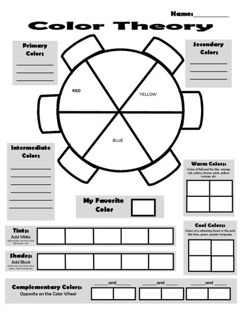 color theory worksheet search 5th grade