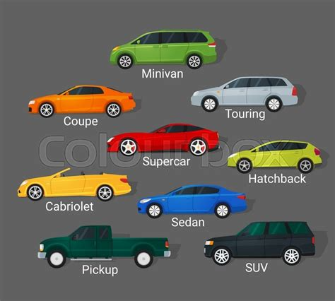 Different Car Types Icons Set In Detailed Flat Style