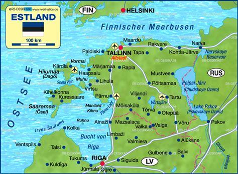 Karte von Estland (Land / Staat) | Welt-Atlas.de