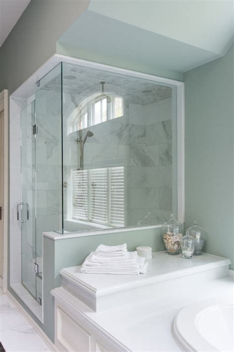 shower  bathtub attached transitional bathroom