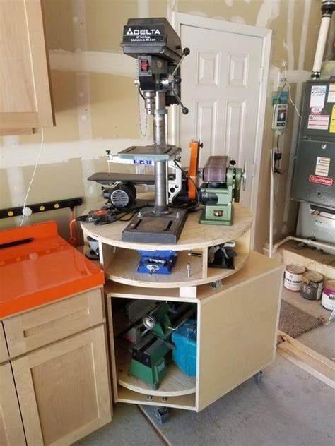 rotating carousel tool bench oc woodworking