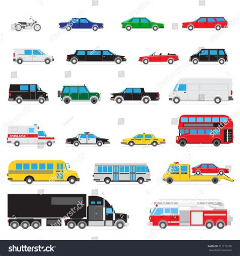 Collection Simple Different Kinds Types Cars Stock Vector