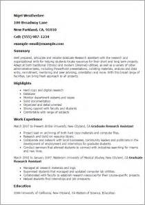 research assistant experience resume professional graduate research assistant templates to