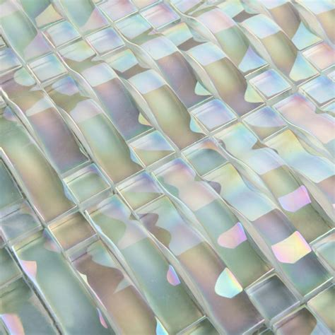 glass mosaic tile interlocking arched glass tile