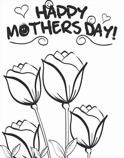 Mothers Coloring Mother Pages Flowers Happy Roses