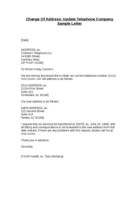 sample cover letter  address change trial note
