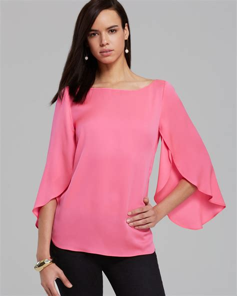 pink blouse milly blouse stretch silk butterfly in pink fluo pink lyst