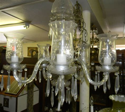 Glass Shades For Chandelier by Vintage Etched Chandelier 5 Arm Hurricane Glass