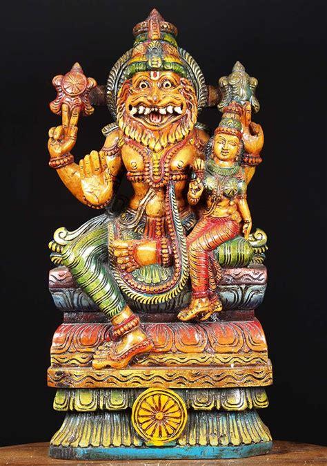 SOLD Wooden Narasimha Lakshmi Statue 24