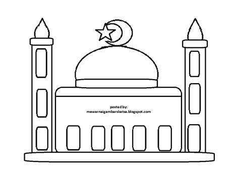 mewarnai gambar mewarnai gambar sketsa masjid 9