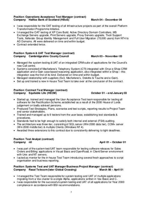 Erp Resume Summary by Test Manager Cv 2015