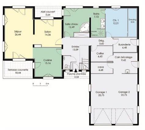 plan plain pied 3 chambres maison contemporaine 3 dé du plan de maison