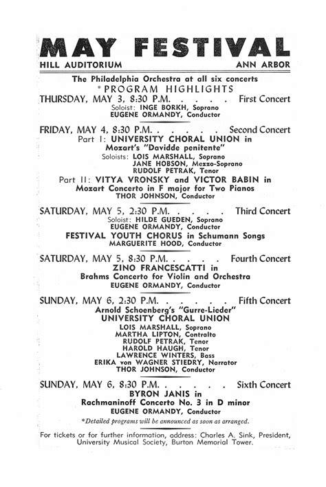 ums concert program january   seventy seventh