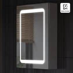 498x700mm led illuminated mirror cabinet shaver socket