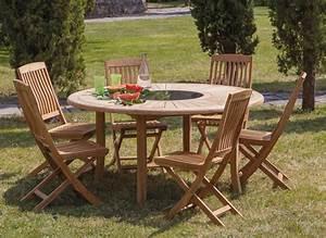 Table Ronde En Teck : table de jardin ronde en teck brehat 155cm proloisirs ~ Teatrodelosmanantiales.com Idées de Décoration