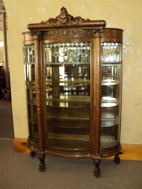 curved glass curio cabinet value 1000 images about antique oak furniture on