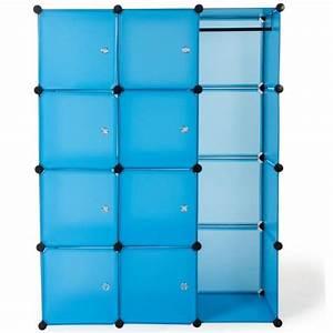 Solution Dressing Pas Cher : armoire penderie rangement dressing bleu achat vente ~ Premium-room.com Idées de Décoration