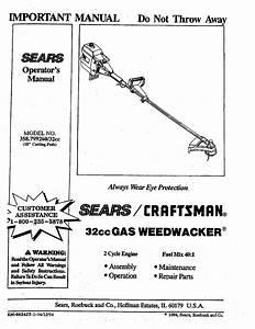 Craftsman 358799260 User Manual Weedwacker Manuals And