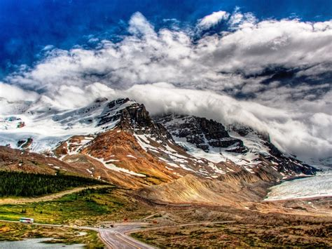 Landscape Snowy Mountains And White Cloud Wallpaper ...