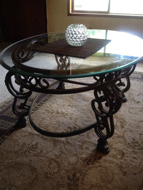 Glass And Black Wrought Iron Coffee Table (general) In