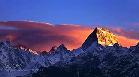 First Ray Of Light (mount Kamet) By Jassi Oberai