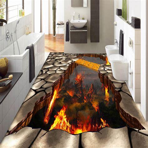 custom mural  stereoscopic flames living room bathroom