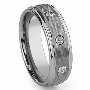 tungsten carbide diamond hammer finish wedding band ring With tungsten wedding rings with diamonds