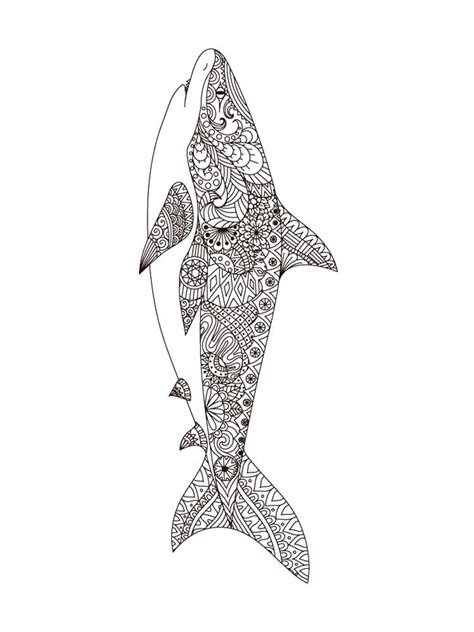 shark coloring pages  adults printable   shark coloring pages