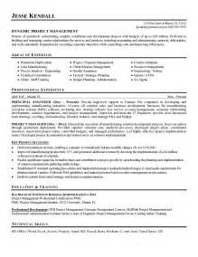project manager resume template exle project manager resume free sle
