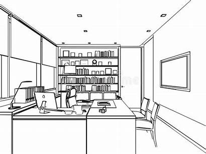 Office Perspective Drawing Interior Sketch Outline Space