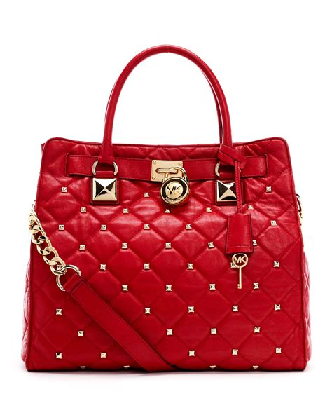 michael kors quilted bag michael kors large hamilton studded quilted tote in lyst