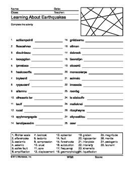 earthquakes word search and word scramble printable