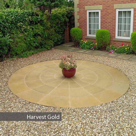 circular paver patio kit stamford circle patio paving kit 3 6m harvest gold