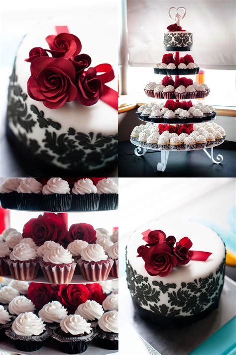 black damask  red roses wedding cake  cupcakes