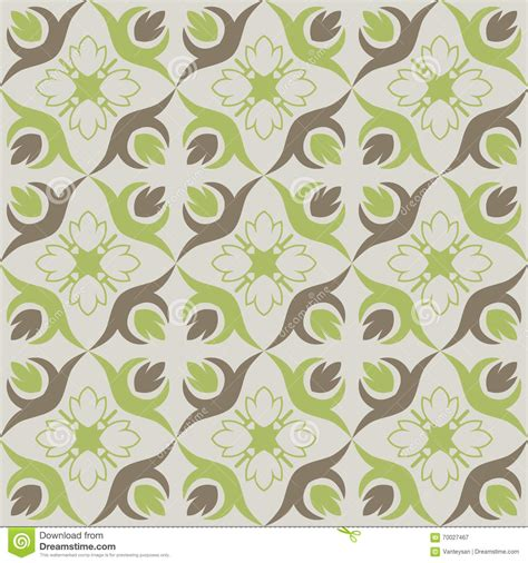 Seamless Wallpaper With Green Brown Floral Pattern Stock