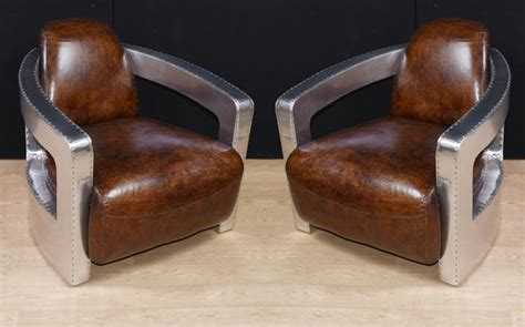 worn leather arm chair pair aviator deco club chairs chrome leather arm 1660