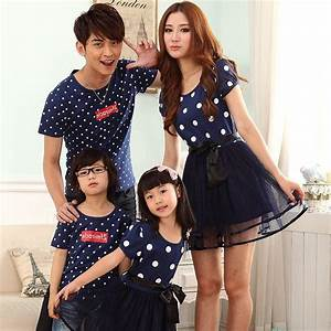 Summer Style Family Clothing Family Matching Family Parent Child Cotton Round Neck Female Dress ...
