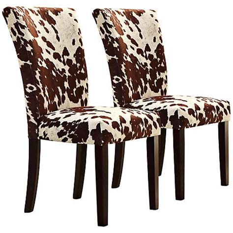 homebelle set of 2 cowhide print side chairs 3w165
