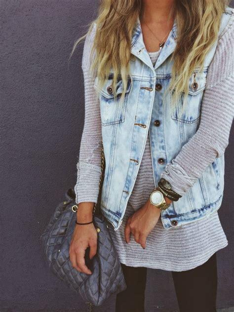Light jean vest over sweater | Sweet outfits | Pinterest | Denim Vests Jean Vest and Light Jeans