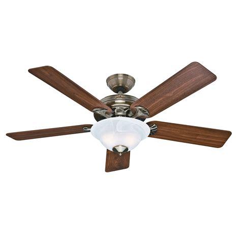 vintage hunter ceiling fans shop hunter the brookline 52 in antique brass downrod or